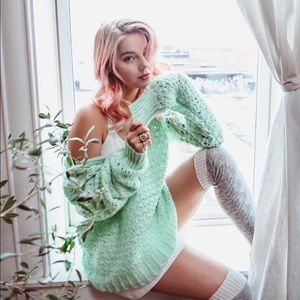 NWT Free People Mint Knit Sweater